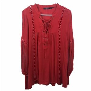 By Together Rust Red Boho Crochet Tunic Top